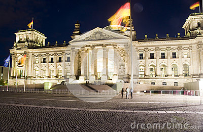 The Reichstag Parliament night light Berlin