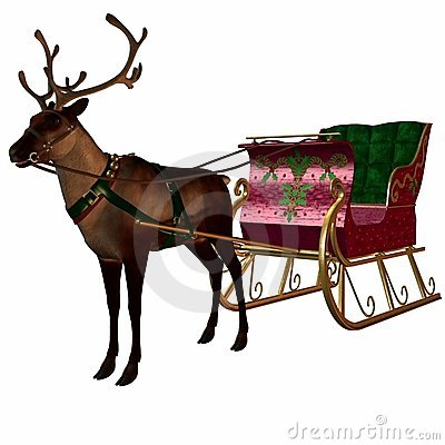 Free Reindeer And Sleigh Royalty Free Stock Images - 1539309