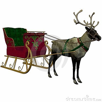 Free Reindeer And Sleigh Stock Image - 1539321