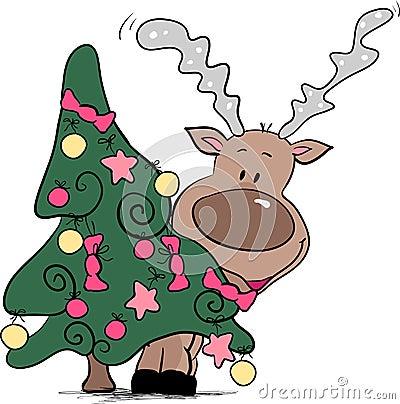 Reindeer behind christmas tree