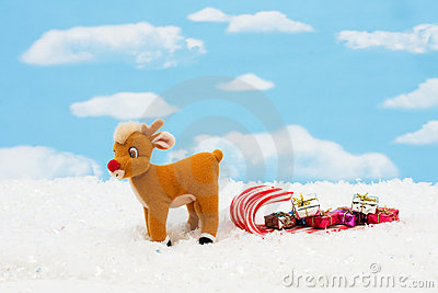 Reindeer and Candy Cane Sleigh