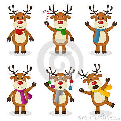 Free Reindeer Cartoon Christmas Set Royalty Free Stock Images - 35098489