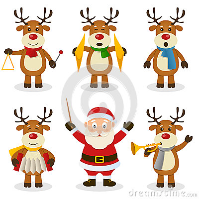 Reindeer Christmas Orchestra Set Vector Illustration