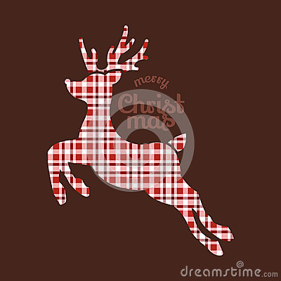 Reindeer Christmas in plaid fabric
