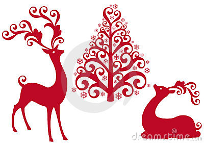 Reindeer with christmas tree,