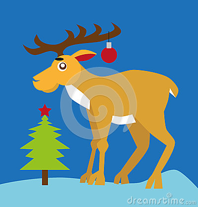 Reindeer and Christmas tree