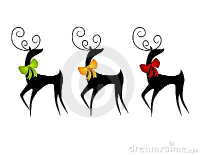 Reindeer or Deer Wearing Christmas Bows