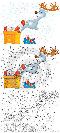 Reindeer extricates Santa