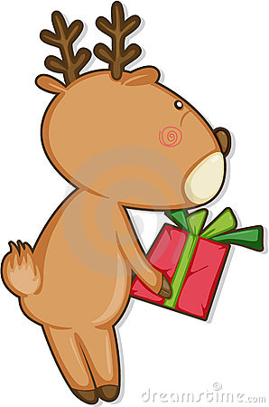 Reindeer and gift box