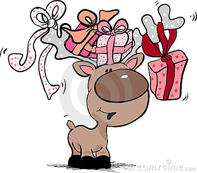 Reindeer with gift boxes
