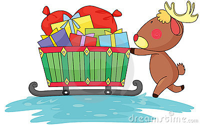 Reindeer and gift boxes