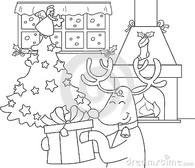 Reindeer with gift and Christmas tree