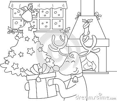 Reindeer with gift and Christmas tree