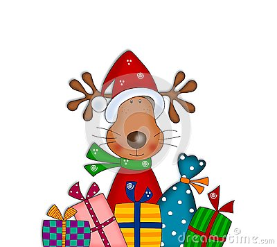 Reindeer with gifts. Cartoon characters.