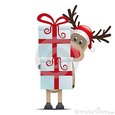 Reindeer hold gift boxes