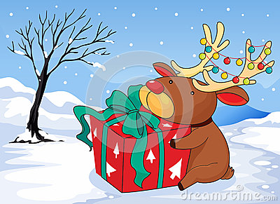 A reindeer holding a gift