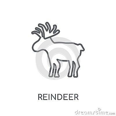 Reindeer linear icon. Modern outline Reindeer logo concept on wh Vector Illustration