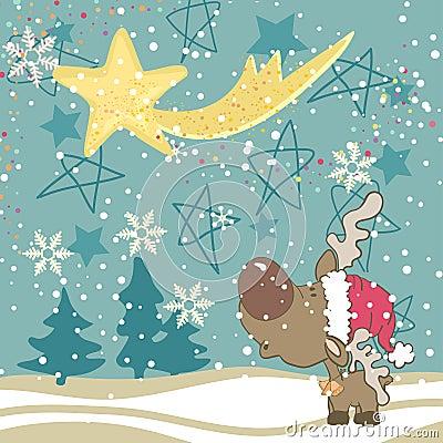 Reindeer looking into the sky