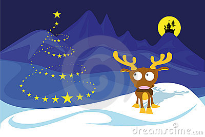 Reindeer on the north pole