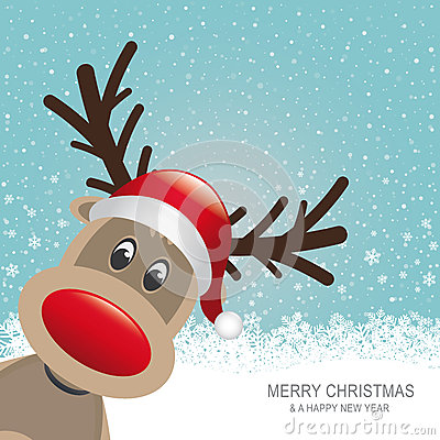 Reindeer red hat snow blue background