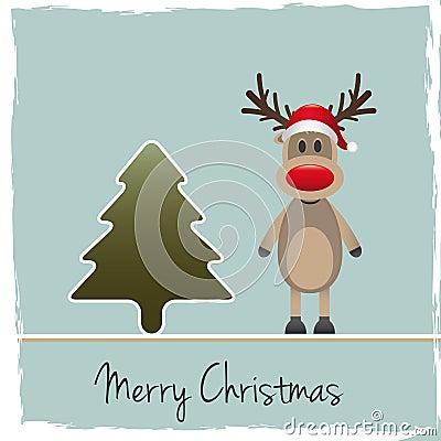 Reindeer red nose santa claus hat