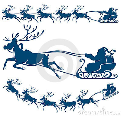 Reindeer and Santa Claus.