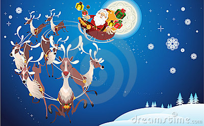 Reindeer And Santa Claus Christmas