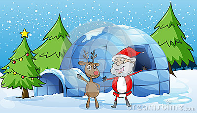 A reindeer and santaclause