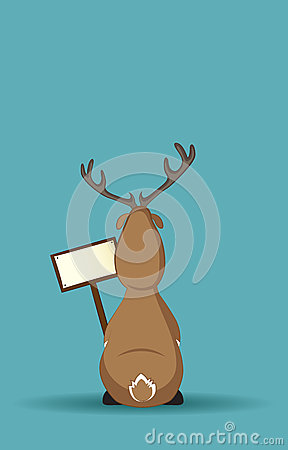Reindeer sitting turned back with a sign