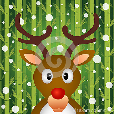 Reindeer and snow on bamboo background