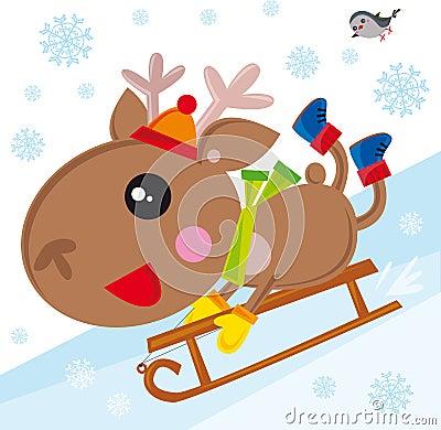 Reindeer on snow led
