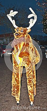 A reindeer on stilts Editorial Photo