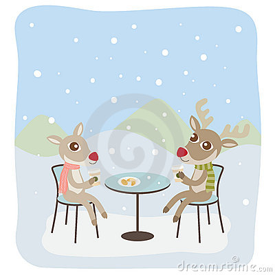 Reindeers Having Coffee