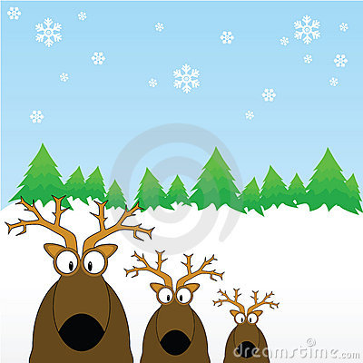 Reindeers out in the snow