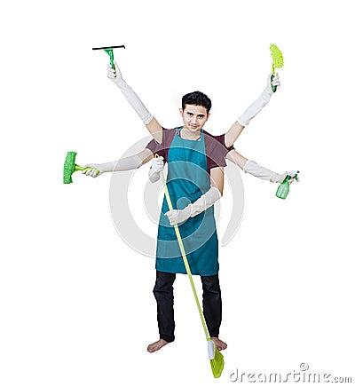 Reinigingsmachine met multi geïsoleerde handen -