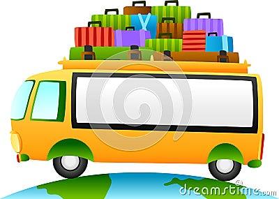 Reisebus mit Zeichen