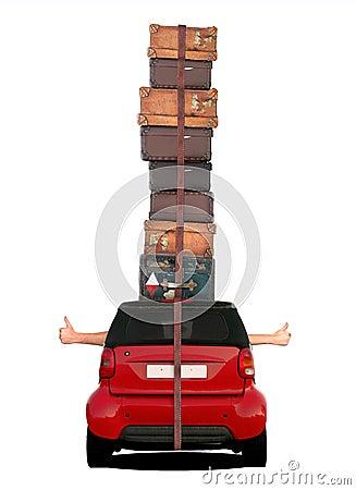 Reisendes Auto - Daumen oben