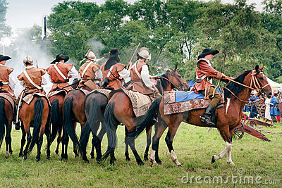 Reiters on horses at Kluszyn 1610 Editorial Stock Photo