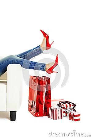 Reizvolle rote Schuhe