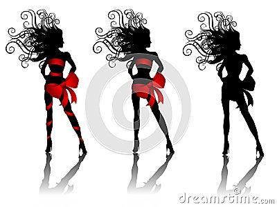 Reizvolle Schattenbild-Frauen, die Rot-Bögen tragen