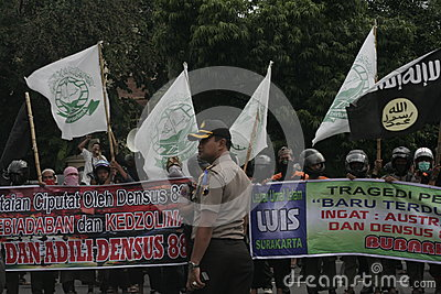 Reject Protest Police Detachment 88 Anti Terror In Chester Indonesia Editorial Image