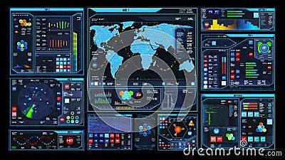 Relação futurista do centro de comando (laço pronto) filme
