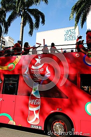 Relais de torche des Jeux Olympiques 2010 de la jeunesse Image éditorial