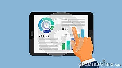 Relatório analítico do gráfico do negócio no tablet pc ilustração do vetor
