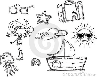 Relax on the beach, doodle vector