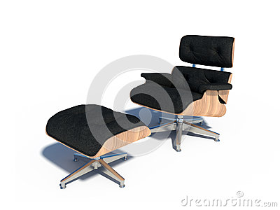 Relax chair black leather wood