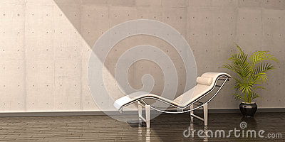 Relax chair white leather flower interior scene