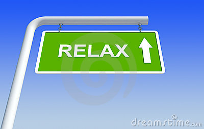 Relax in green road sign
