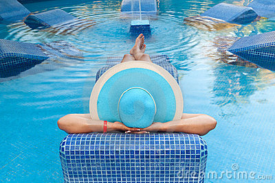Relax on swimming pool bed