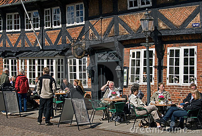 Relax time in Ribe , Denmark Editorial Stock Photo